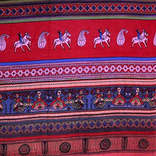 India Arts Cotton Kalamkari Tie Dye Tapestry Wall Hanging Bedspread Full Tablecloth Rectangular Beach Sheet Bed-Sheet Dorm Decor Red (Red, Full 88 x 106 ()
