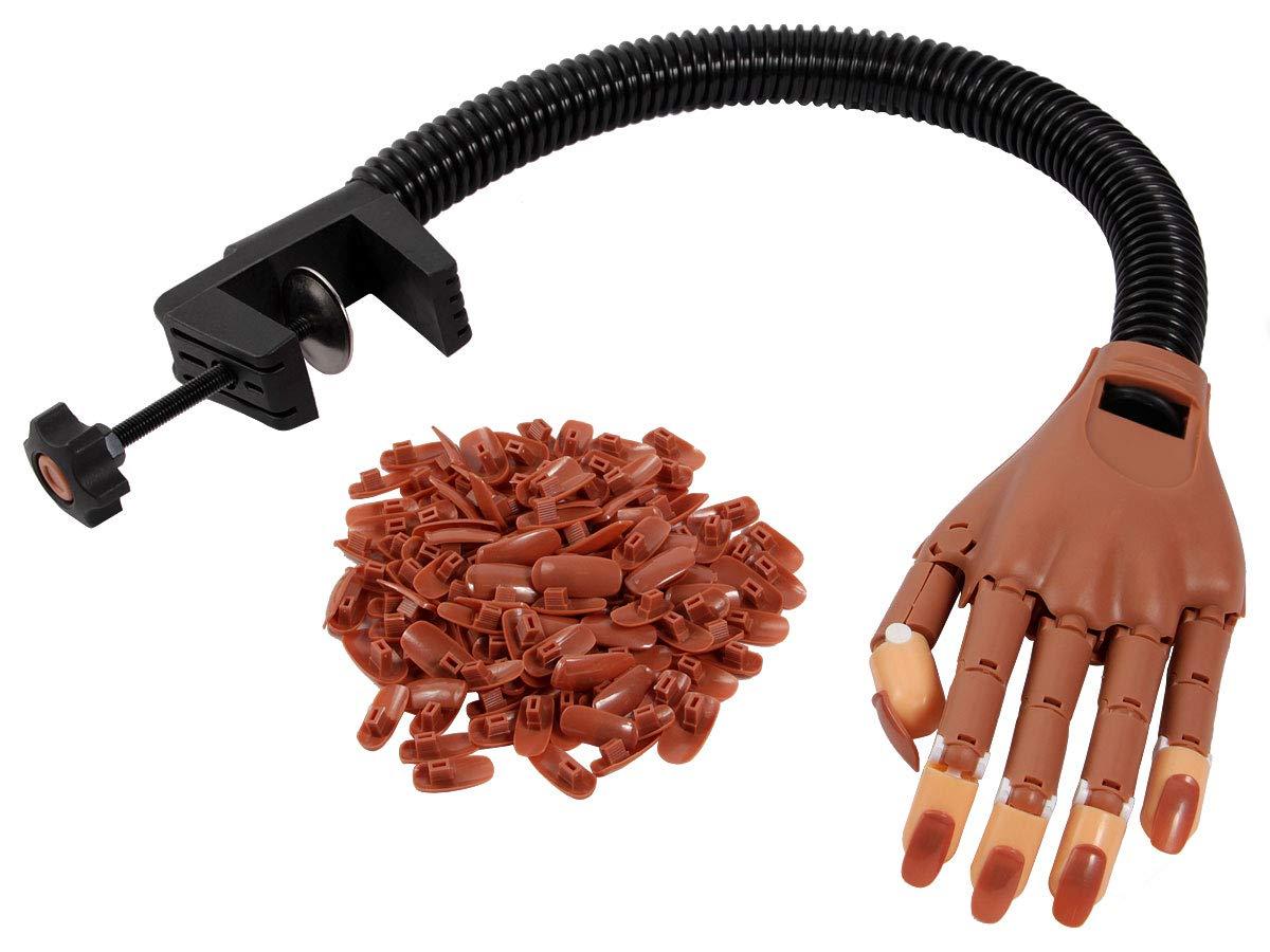 Nagel Trainingshand Übungshand Nagelhand Nageltrainer flexibler beweglicher Arm mit Tischhalterung für Nageldesign inklusive 100 Stück Übungsnägel Alsino