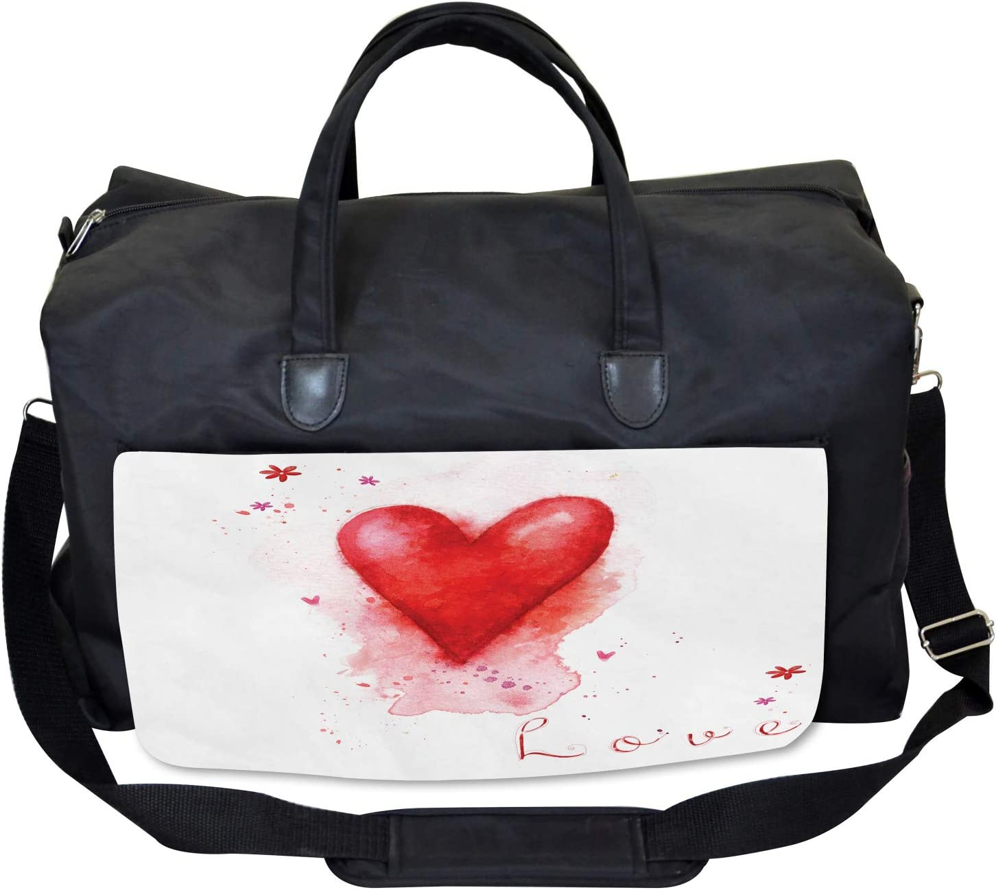 Watercolor Effect Heart Ambesonne Love Gym Bag Large Weekender Carry-on
