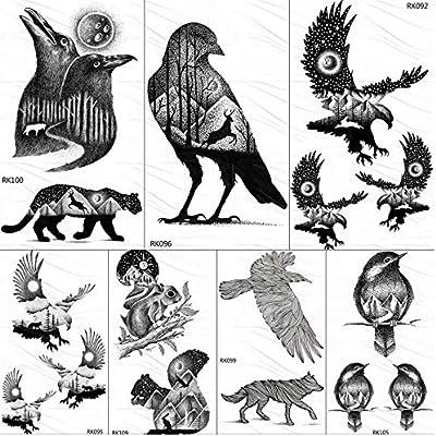 yyyDL Eagle Bird Montaña Bosque Tatuajes Temporales Etiqueta Negro ...