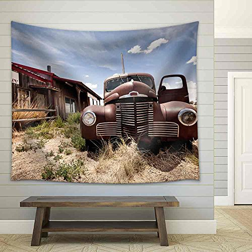 wall26 - Abandoned Restaraunt on Route 66 Road in Usa - Fabric Wall Tapestry Home Decor - 51x60 inches (Tapestry 66 Route)
