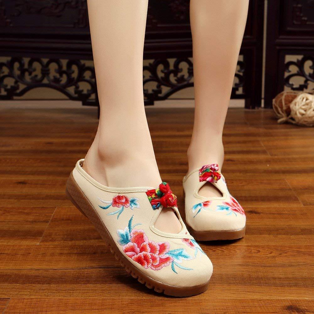 Eeayyygch Bestickte Schuhe Schuhe Schuhe Sehnensohle ethnischer Stil weiblicher Flip Flop Mode Bequeme lässige Sandalen Meter weiß 41 (Farbe   - Größe   -) 514b46