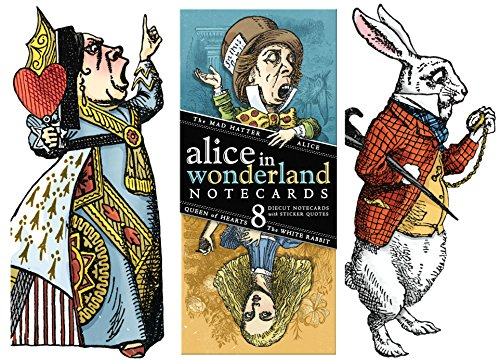 (Lewis Carol Wonderland Greeting Card Boxed Set - 8 Die Cut Silhouette Cards Cards With Envelopes, and 4 Sticker Sheets - Alice, Queen of Hearts, Mad Hatter, and White Rabbit)
