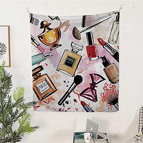 (WilliamsDecor Girls Pattern Tapestry Cosmetic and Makeup Theme Pattern with Perfume Lipstick Nail Polish Brush Modern Lady Big Tapestry 54W x 84L INCHMulticolor)