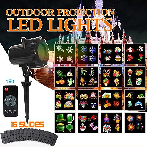 Kuquce Slide Show Led Outdoor Projector Lights with Remote Decoration for Holiday Halloween Christmas Party Garden