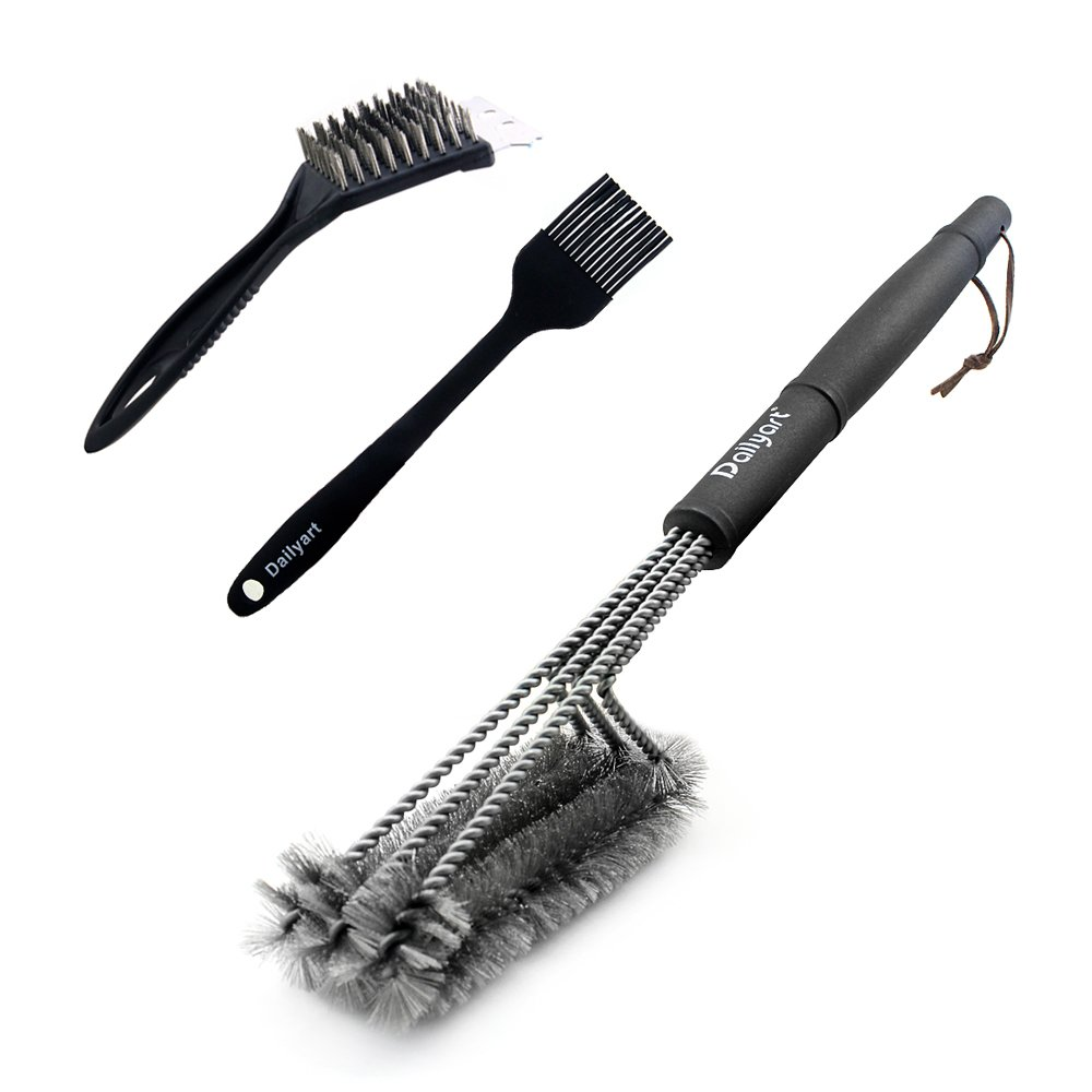 Dailyart Grill Brush, 3Pcs Stainless Steel Bristle Brushes Cleaner Tools BBQ Grill Cleaner Perfect for Handle Weber Charcoal, Charbroil, Gas, Electric, Porcelain, Infrared Grills
