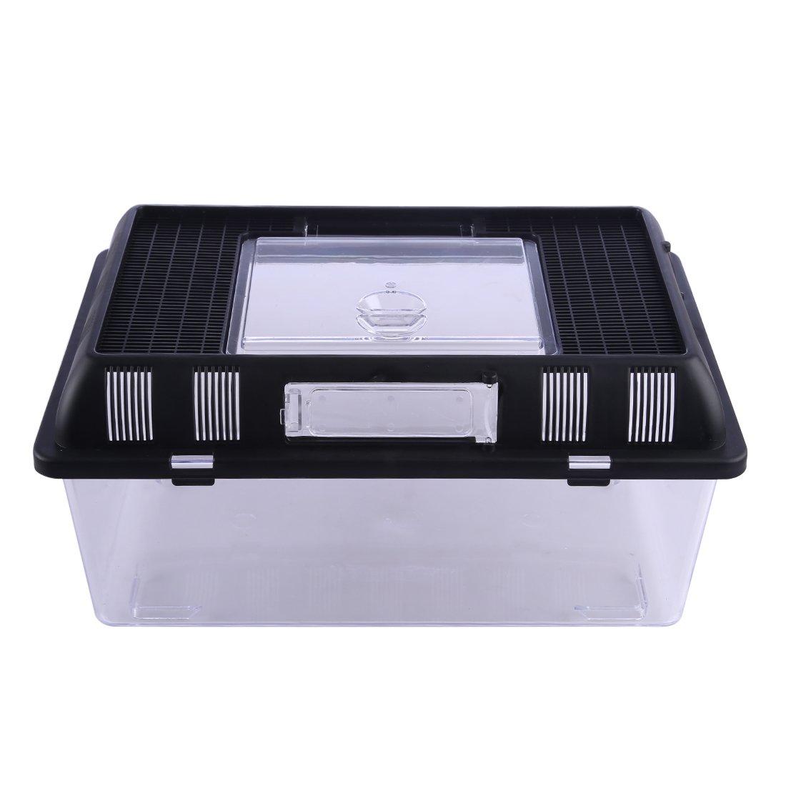 Petforu Breeding Box Crawler Jar Small Reptile Feeding Box Portable Plastic - Rectangle S