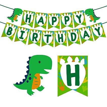 Kreatwow Dinosaurio Feliz cumpleaños Banner para niños ...