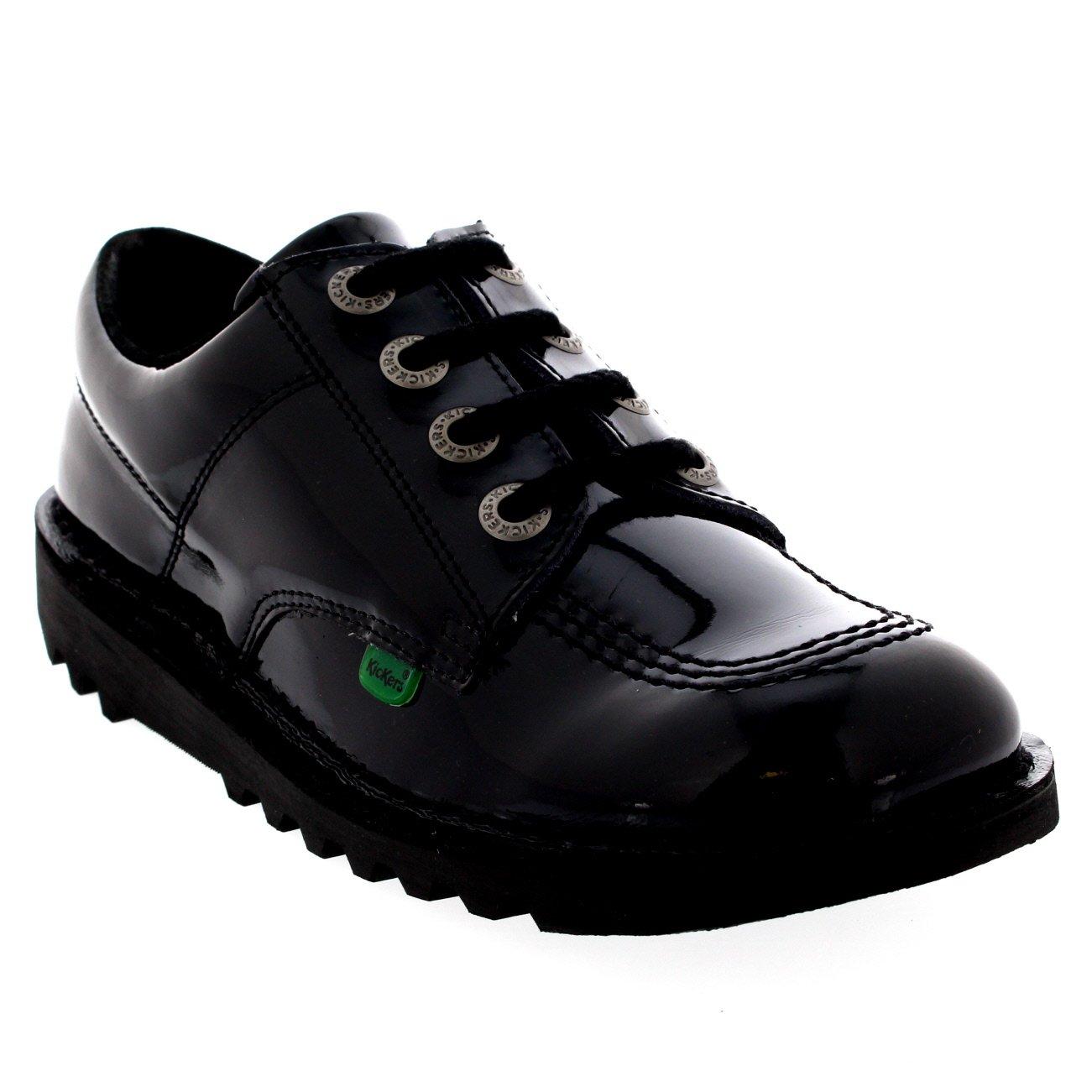 Kickers Womens Kick Lo Core Lace Up Work Office Patent Black Shoes - Black/Black - 5.5