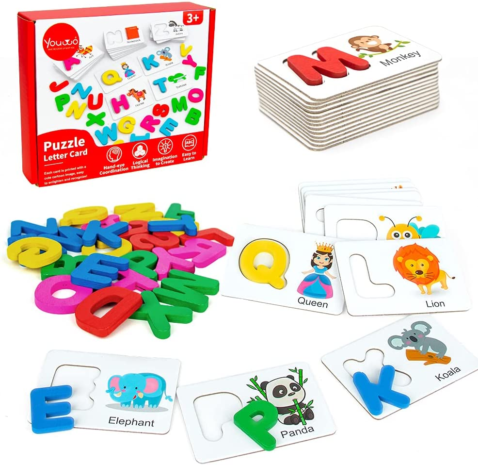 Homeschool   ABC Objects Back to School Letter Matching Gifts for Kids Letter Sounds Flashcards Wooden Alphabet Objects