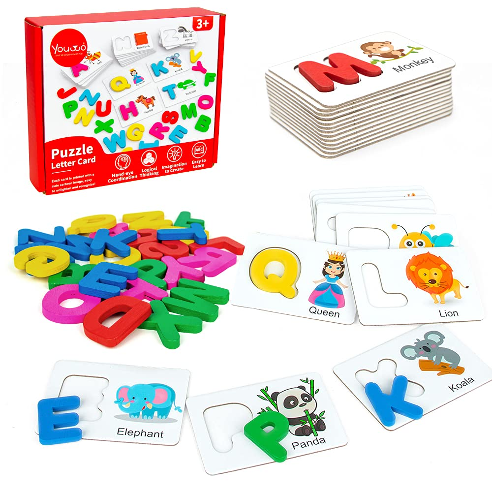 Youwo Alphabet Flash Cards Preschool Activities Wooden Letters Jigsaw Matching Games Learning