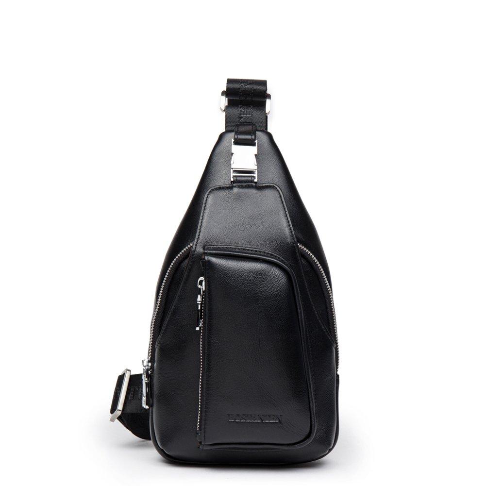 BOSTANTEN 男性用 メンズバッグ レザー  ボディバッグ バックインバッグ ショルダーバッグ ウエストポーチb552021 (ブラック) [並行輸入品] B015C43NW0  ブラック