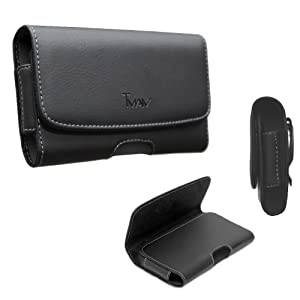 LG Stylo 4 Pouch Case,LG Stylo 4 Plus Pouch Case,T MAN [ XL Fit] [Belt Holster] Sideways PU Leather Holster Pouch case for LG Q Stylus 4(fits the phone with thick hybrid case on/otter box on)