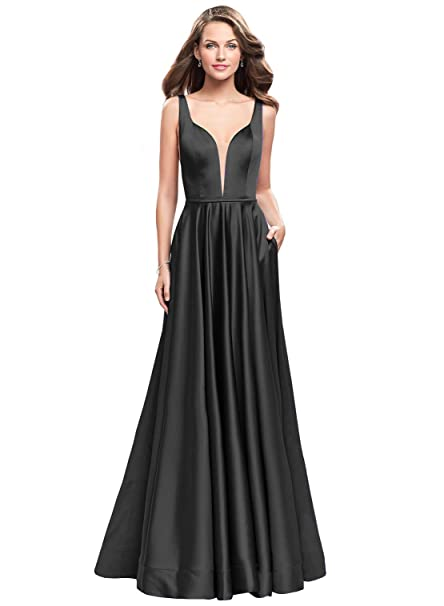 cf4d77f8ce2dd Now and Forever Women's A Line Sheer V Neck Satin Prom Dresses Long Formal  Evening Party Gowns with Pockets