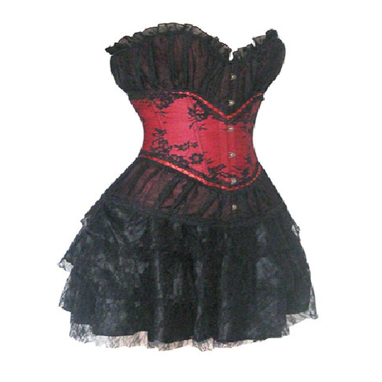 Black Lingerie Lace Overlay Boned Corset Bustier Mini Skirt Party Evening Dress