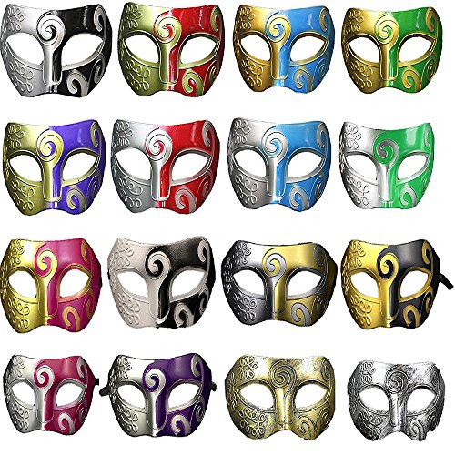 Mohary Unisex Jazz Retro Masquerade Mask Mardi Gras Costume Halloween Party Acccessory(pack of 16) (Halloween Mouth Stencil)