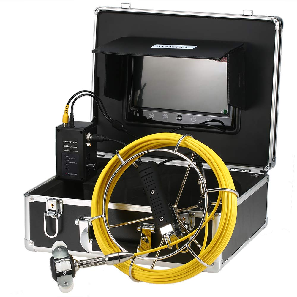Lixada 9 Pollici Telecamera di Ispezione dei Tubi Impermeabile IP68 Endoscopio Snake Camera per Pipeline Industrial Scarico 20M//30M//40M