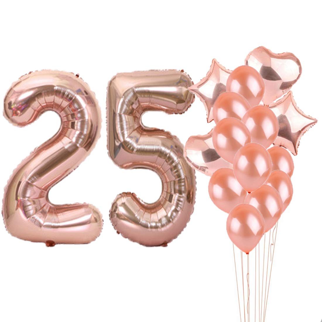 25th Birthday Decorations Party Supplies25th Balloons Rose GoldNumber 25 Mylar BalloonLatex Balloon DecorationGreat Sweet Gifts