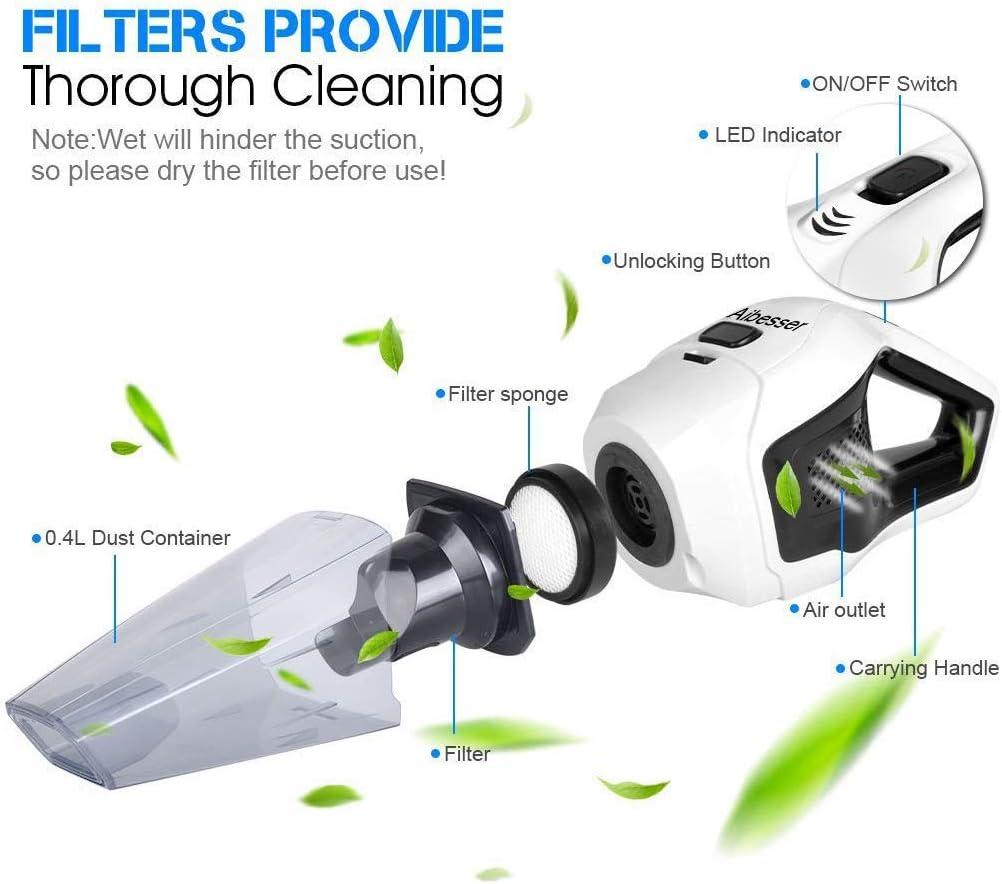 pour moquettes et sols durs Aibesser Aspirateur /à main sans fil 2 en 1 pour voiture Aspirateur sans fil 7000 PA humide et sec CC 14,8 V,120 W sans sac
