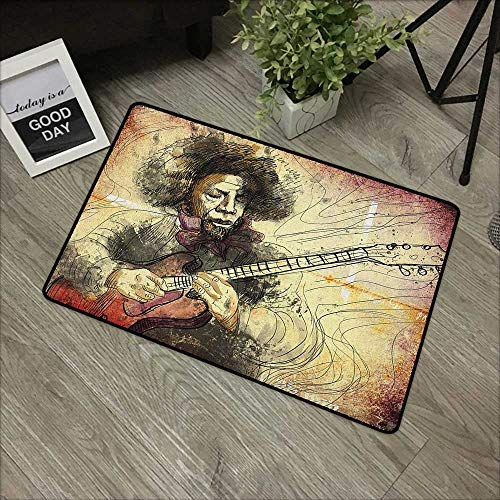 (pad W35 x L59 INCH Jazz Music,Guitar Virtuoso Hand Drawn Style Illustration of a Guitar Player Musician, Brown Beige Black with Non-Slip Backing Door Mat Carpet)