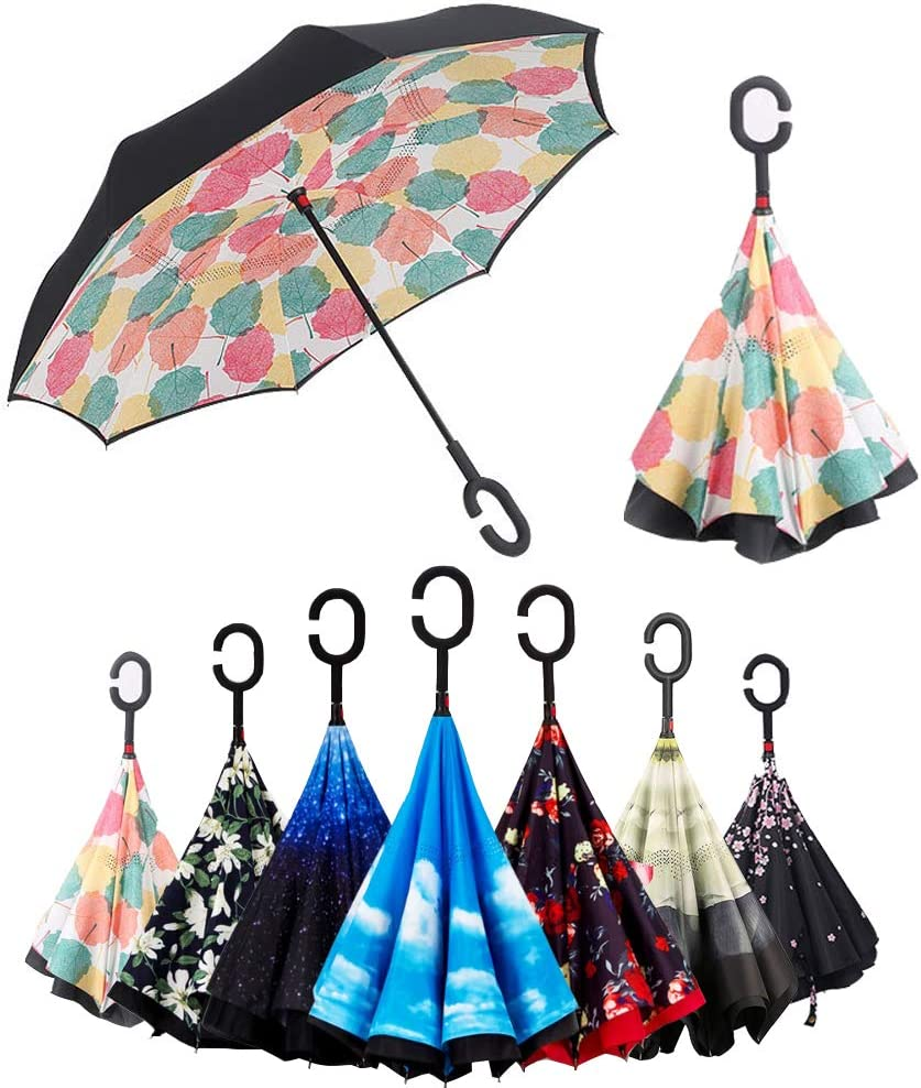 BP @ Paraguas plegable con mecanismo invertido de apertura. Muy útil en caso de lluvia, con mango en forma de C invertida. Paraguas de doble capa a prueba de viento (106 cm). , Foglia di Acero