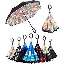 Paraguas Invertido, Paraguas Plegable, Reversible, con protección contra Rayos UV, con Mango en Forma de C Invertida. Paraguas de Doble Capa a Prueba ...