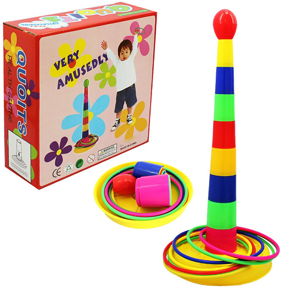 POPIGIST Classic Kids Ring Toss Game - Kids Quoit Games Improve Eye-Hand Coordination and Fine Motor Skills- Funny Throwing Ring Game Toy