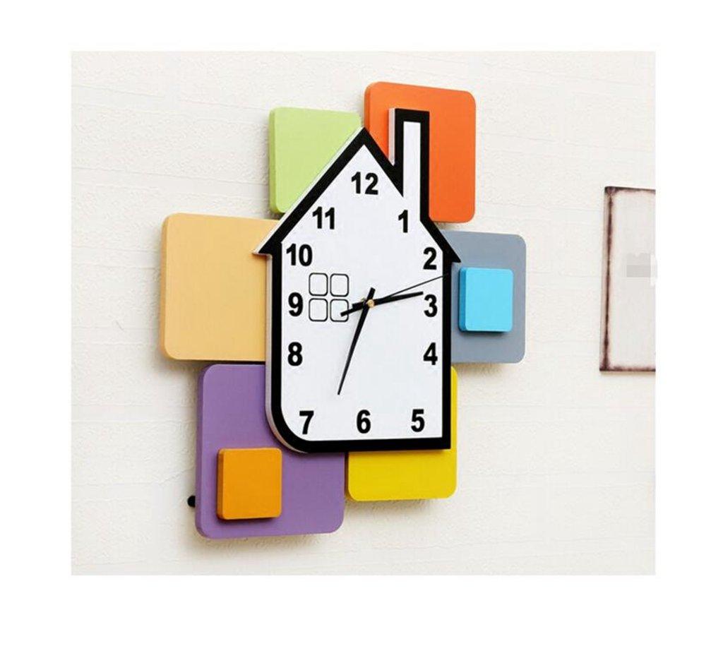 Sucastle Wood, cute, house, wall clock, mute, clock, living room, clock, quartz clock, hanging table, WYFC