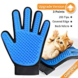 [Upgrade Version] Pet Grooming Glove - DESINO Efficient Pet Hair Remover Mitt, Gentle Deshedding Bathing Brush Glove, Massage Tool for Dogs and Cats with Long and Short Fur, 1 Pair