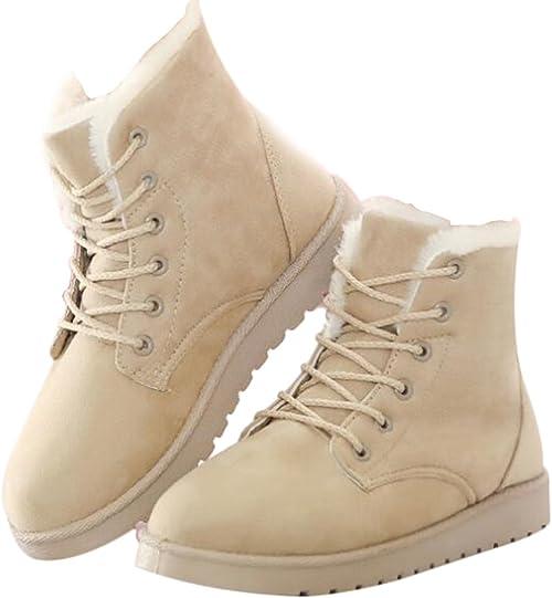 Cheville Chaussures Hiver Fourrure Bottes Automne Brinny Femmes de Chaudes Plates Laçage Neige EDH9WY2I