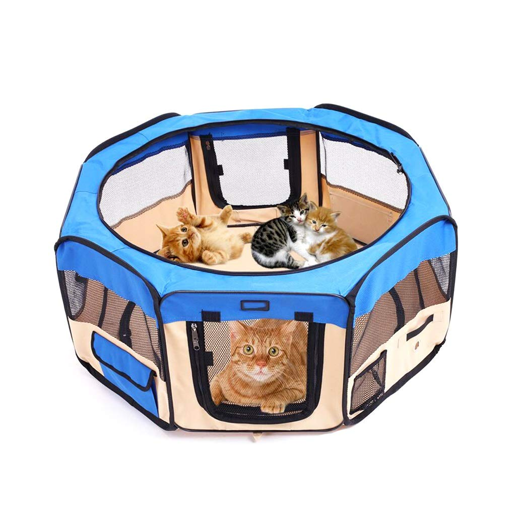 bluee L bluee L SN Folding Pet Playpen,Tent Kennel With A Removable Sunshade For Dogs, Cats, And Puppies Water-Resistant (color   bluee, Size   L)