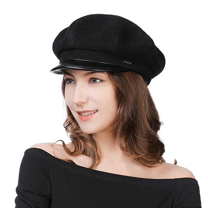 588aa652f6c64 Ladies Stylish Wool Felt Baker Boy Cap PU Peaked Beret Newsboy Winter Hats  Fiddler Cap Cabbie Cloche Hat Satin Lined S M  Amazon.co.uk  Clothing