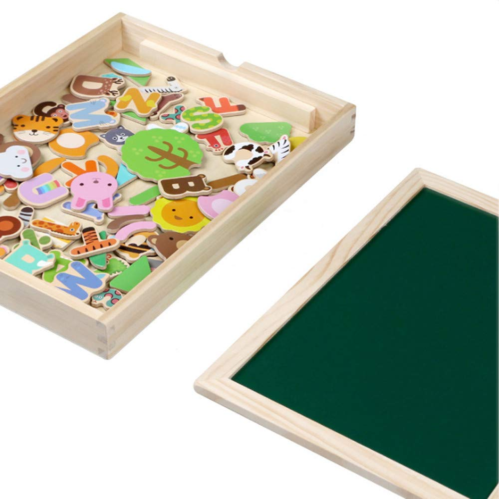 DDgrin Magical Large Wooden Magnetic Jigsaw Box,Educational Toy ,Magnetic Letters and Numbers for Educating Kids in Fun,76 Pieces(Letters / Numbers / Animal Group with Board) by DDgrin