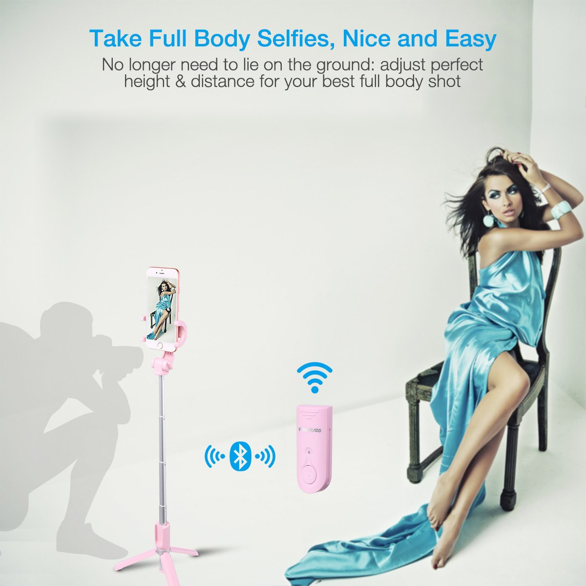 Selfie Stick Tripod,Poweradd Extendable/Foldable Aluminum Selfie Stick with Detachable/Wireless Remote for iPhone X/SE/6/6s/6 Plus/7/7 Plus/8/8 Plus/,Samsung 8/S8/S8 Plus,Nexus,LG,Moto and More-Pink by POWERADD (Image #5)