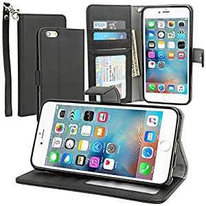 "Evecase iPhone 6S Case, Leather Wallet Folio Case with Credit Card ID Slots, Currency Pocket, Hand Strap and Stand for Apple iPhone 6S / 6 4.7""- Black"