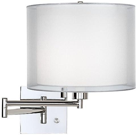 double sheer silver chrome plugin swing arm wall lamp