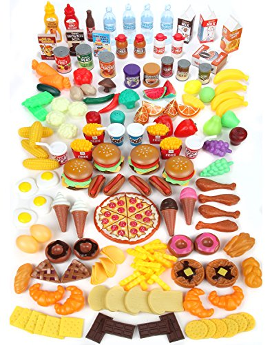 Fake Plastic Food (Mommy Please Play Food Set for Kids - Huge 202 Piece Pretend Food Toys is Perfect for Kitchen Sets and Play Food Kitchen Toys - Inspire Your Toddlers Imagination + 4 Bonus Water Bottles)