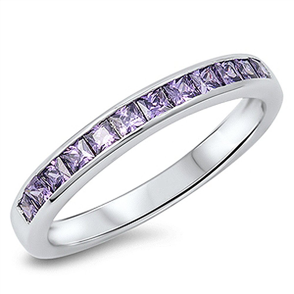 Sterling Silver Princess Simulated Amethyst CZ Channel Set Band Anniversary Ring 3MM ( Size 5 to 10 ), 9