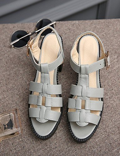 Women's Beige ShangYi Outdoor Party Evening Sandals Heel Leatherette amp; Chunky Office Shoes Black Gray Career Toe Peep Black amp; gdTrqdw