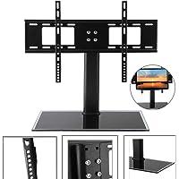 Universal TV Stand LCD LED Plasma Bracket VESA Mount Desktop Monitor Riser Rack Height Adjustable Fit 37-55 Inch Screen Black