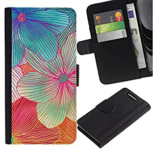 For Sony Xperia Z1 Compact / Z1 Mini / D5503,S-type® Handmade Flower Art Colorful Sweet - Dibujo PU billetera de cuero Funda Case Caso de la piel de la bolsa protectora