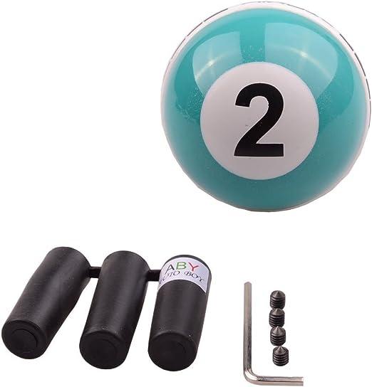 Pomo para palanca de cambios, ajuste universal, para la mayoría de vehículos de transmisión manual, con diseño de bola de billar con número 2, color verde: Amazon.es: Coche y moto