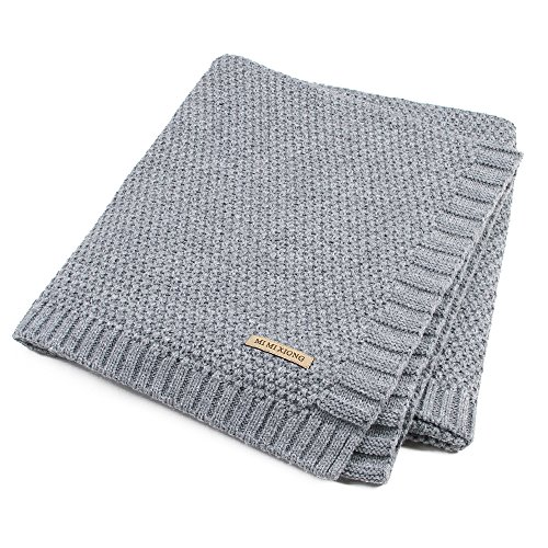 SOBOWO Baby Swaddle Blanket, Babies Knit Soft Wrap Stroller Blankets for Infant Girls Boys Cribs, Nursing, Security (Gray)