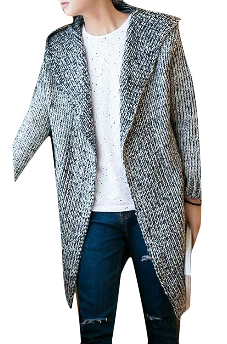 BYWX Men Winter Thick Open Front Warm Knits Solid Hooded Cardigans