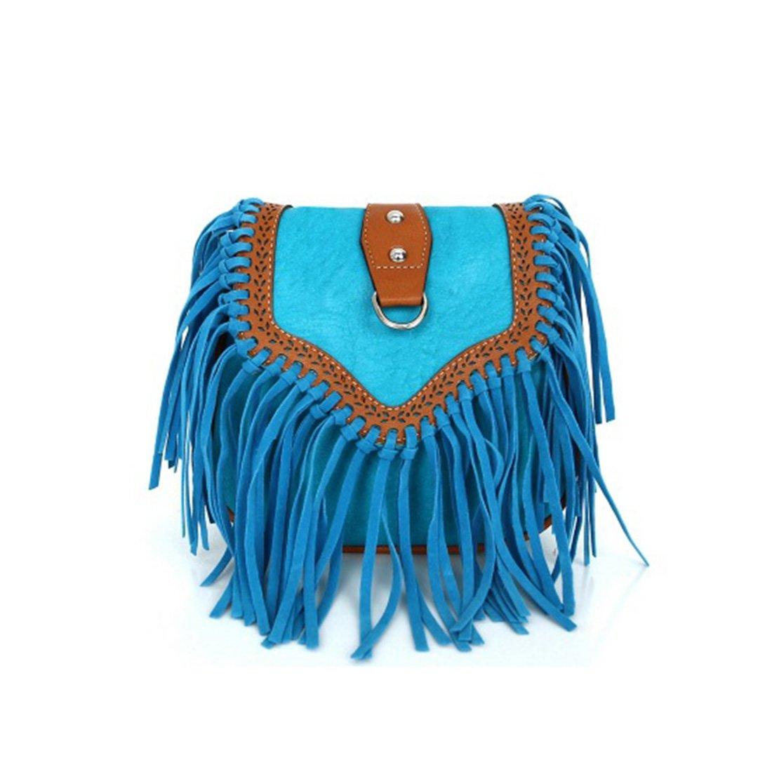 Womens Tassel Shoulder Bag Crossbody Bag Sling Bag Shopping Travel Satchel (Blue)