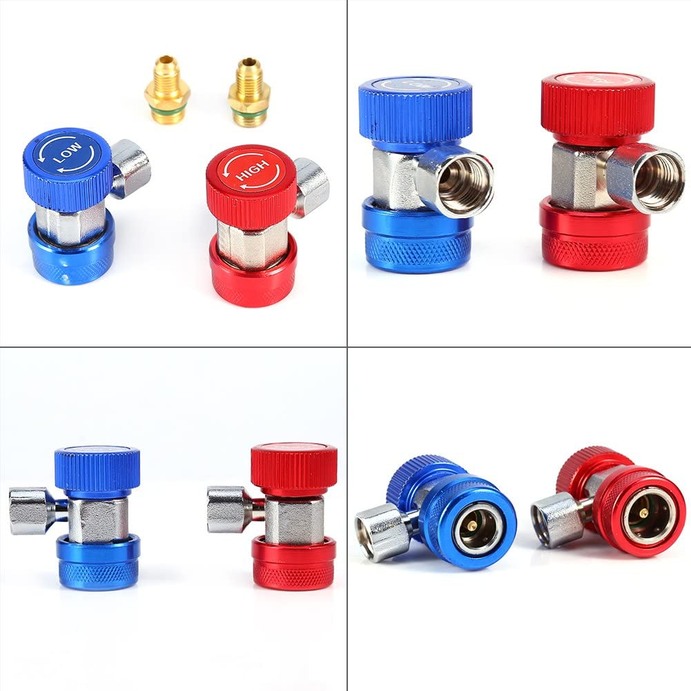 1//4 Quick Coupler 2x R134A AC Air Condition Adjustable Quick Coupler High Low Adapter Connector
