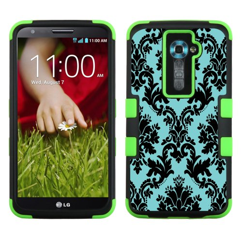T-mobile G2 Two Piece - One Tough Shield ® 3-Layer Hybrid phone Case (Black/Green) for LG Optimus G2 - (Victorian Blue/Black)