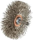 Weiler Narrow Face Wire Wheel Conflex Brush, Round Shank, Stainless Steel 302, Crimped Wire, 3'' Diameter, 0.014'' Wire Diameter, 1/4'' Shank, 1'' Bristle Length, 1/2'' Brush Face Width, 20000 rpm