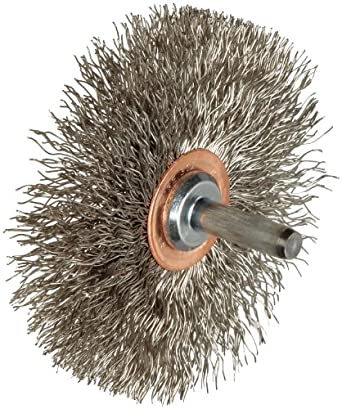 """Weiler Narrow Face Wire Wheel Conflex Brush, Round Shank, Stainless Steel 302, Crimped Wire, 3"""" Diameter, 0.014"""" Wire Diameter, 1/4"""" Shank, 1"""" Bristle Length, 1/2"""" Brush Face Width, 20000 rpm"""