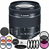 Canon EF-S 18-55mm f/4-5.6 IS STM Lens 8PC Accessory Bundle – Includes Manufacturer Accessories + 3PC Filter Kit (UV + CPL + FLD) + MORE - International Version (No Warranty) (White Box)